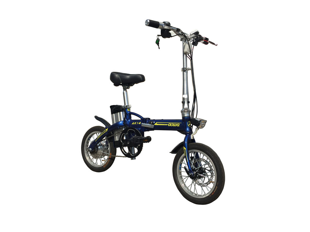 Adult Lithium Bicycle Li - Ion Battery , Aluminum Alloy Frame Foldaway Electric Bike